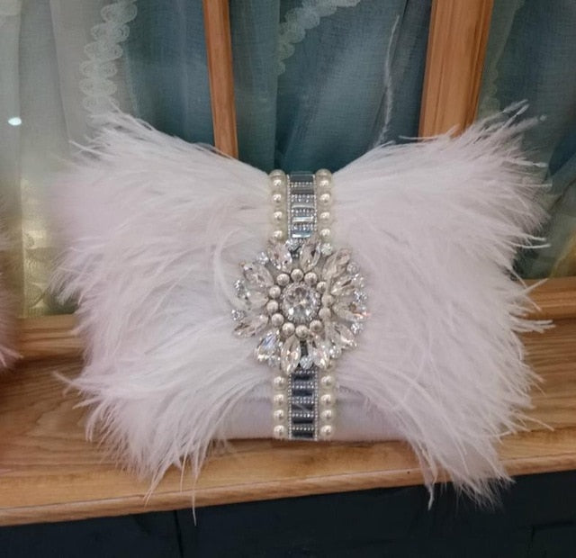 Ostrich Feather & Crystals Dinner Clutch