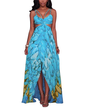 Feather Print Spaghetti Strap Cut Out Maxi Dress
