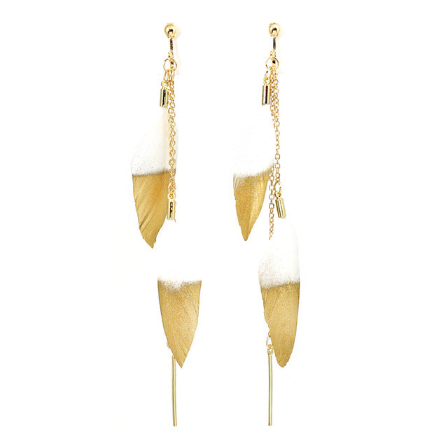 Gold Dipped Feathers Clip Drop Earrings