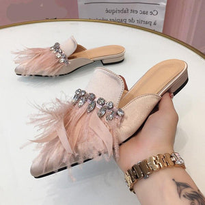 Luxury Feather Satin Pointed Toe Slipper with Rhinestones