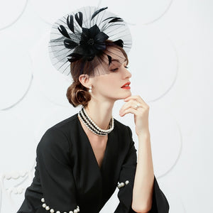 Vintage Styled Pleated Organza Headwear with Fleather Flower