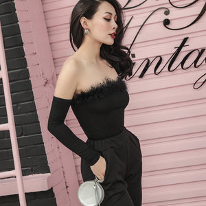Marabou Feather Trim Strapless Bodysuit with Long Sleeve Cuffs