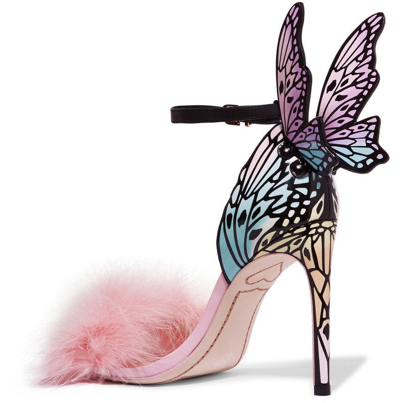 Pink Feather Butterfly Wing Stiletto Sandals