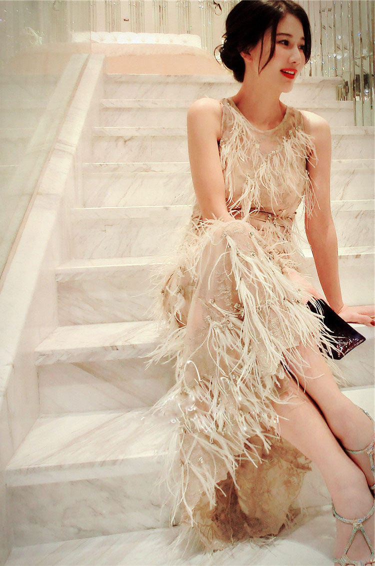 Maxi Dress with Ostrich Feather Tassels