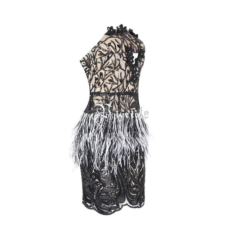 Elegant Ostrich Feather Appliques Sequins Embellished Sexy Mini Dress