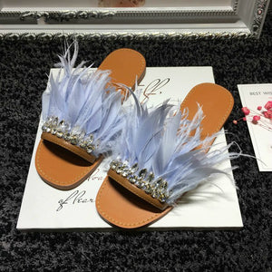 Luxury Real Feather / Rhinestone Slide Sandals