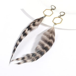 Geometric Handmade Feather Drop Earrings