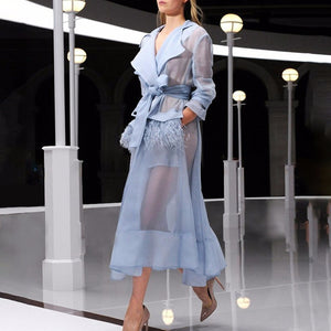 Organza Trench Coat Dress with Ostrich Feather Pockets
