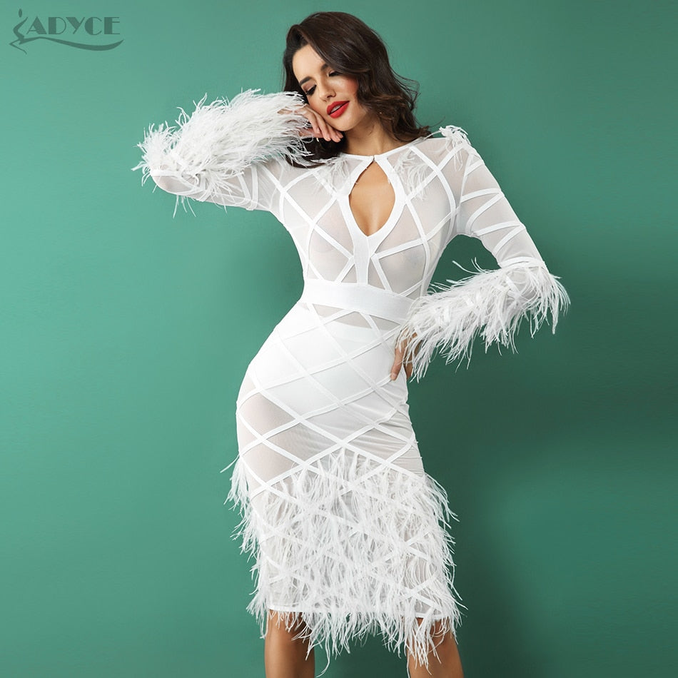 Latice Mesh long sleeve Body-con Dress with Ostrich Feathers