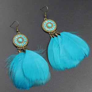 Statement Feather Drop jeweled Disk Earrings