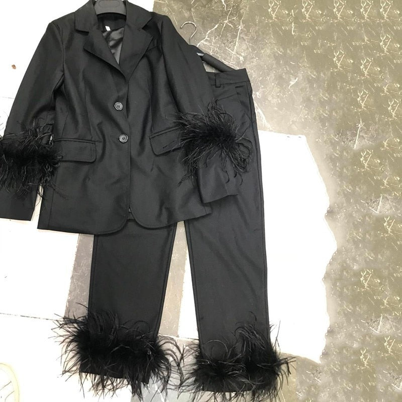 Notch Collar Tailored Pant Suit with Ostrich Feather Cuffs & Hem