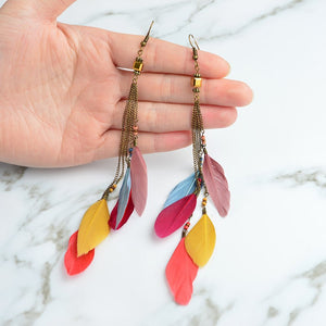 Tropical Multi-color Feather Drop Earrings
