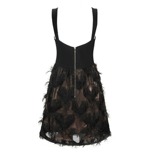 Sweetheart A-line Mini with Ostrich Feather Embellished Skirt