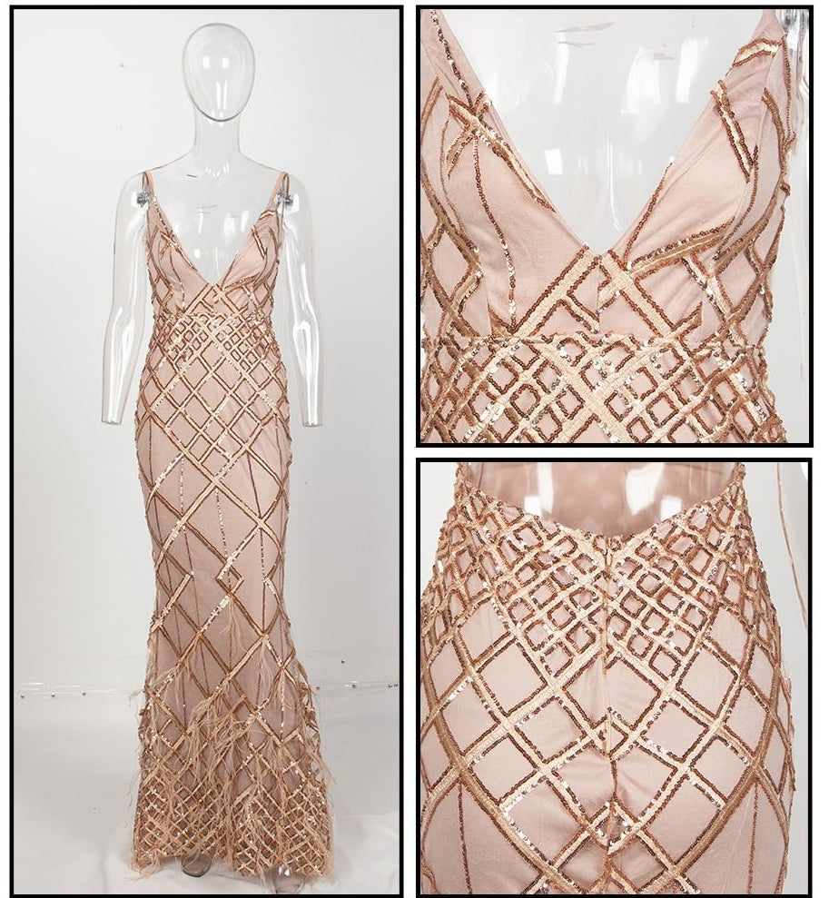 Geometric V-Neck Open Back Sequins Gown