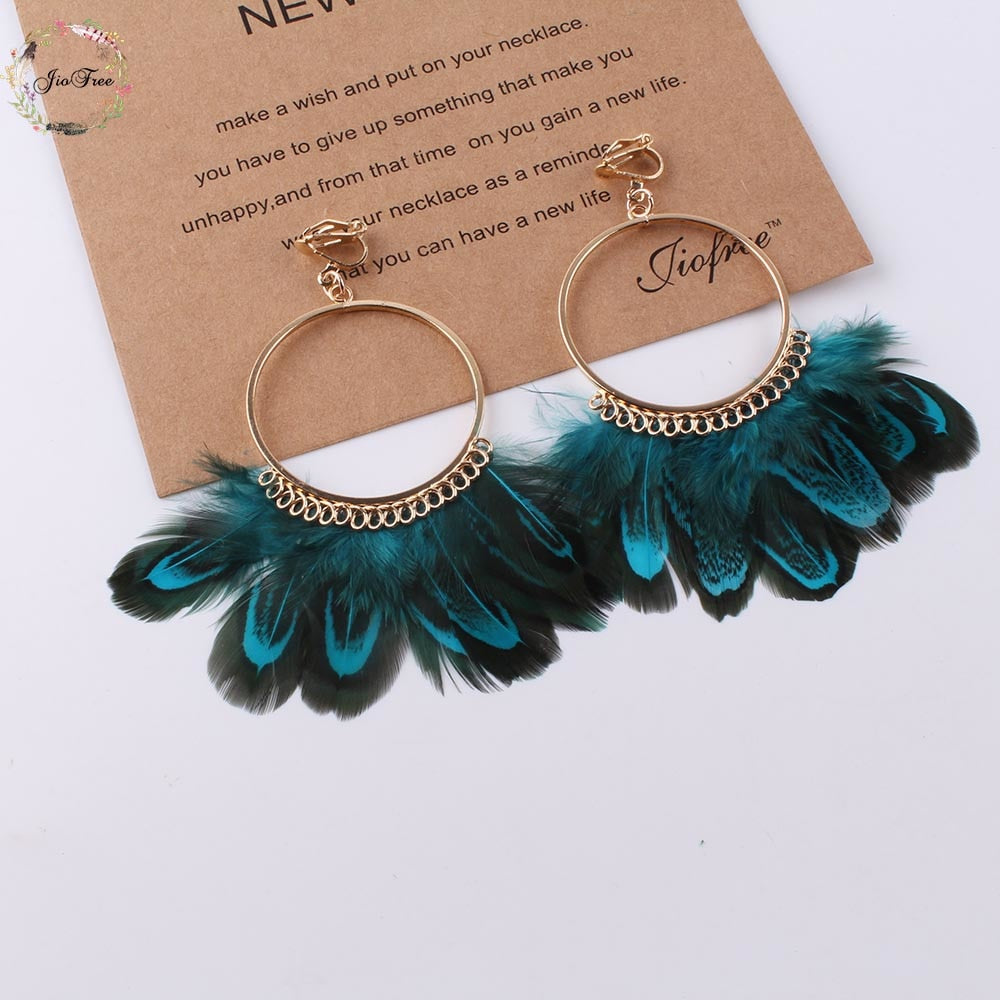 Feather Clip on Hoop Earrings