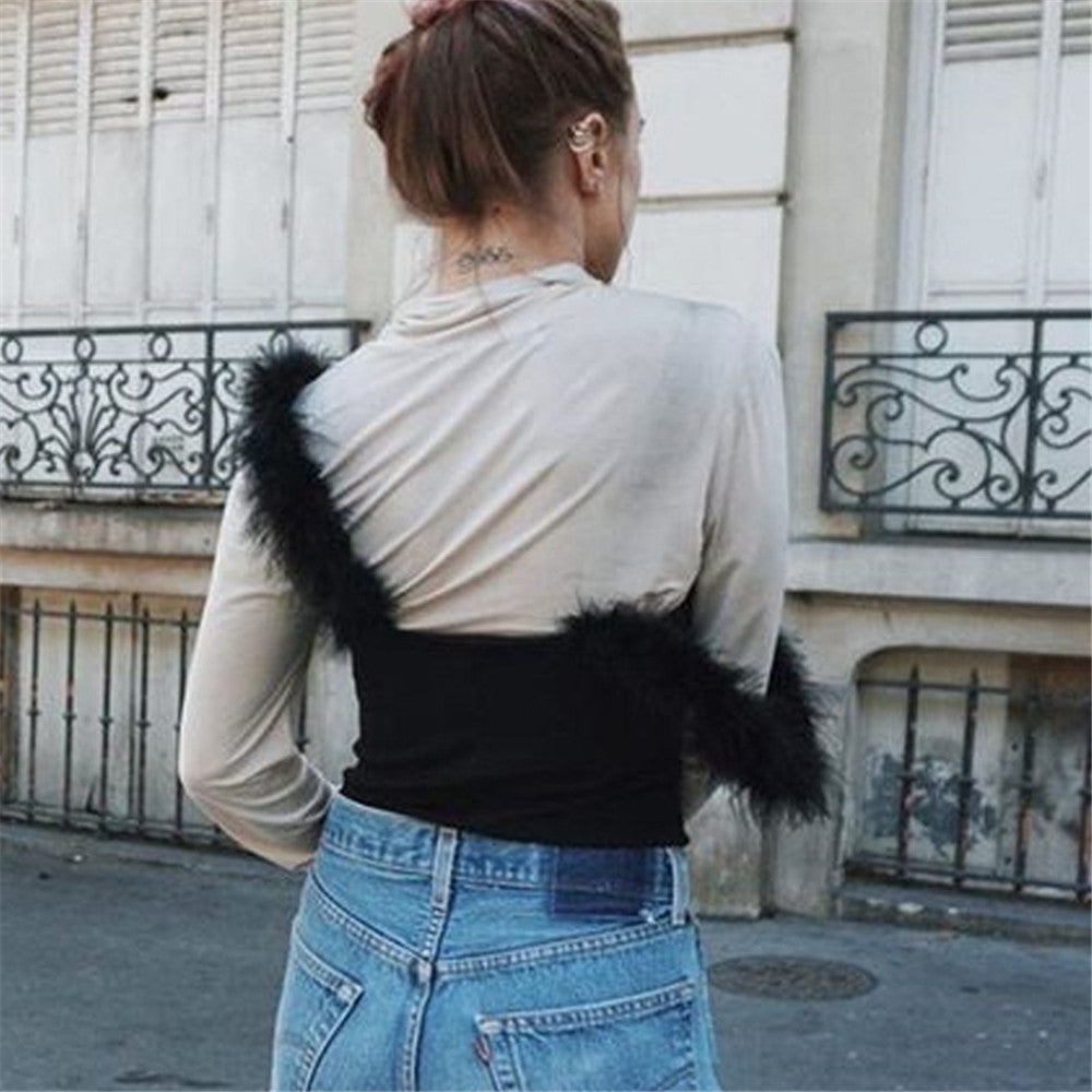 Marabou Feathers Strap Camis Black Crop Tank Top