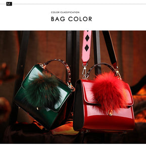 Patent Leather Purse with Feather Pom-pom