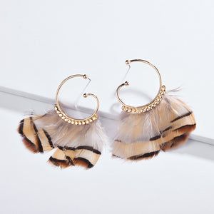 'Leopard' Feather Hoop Earrings