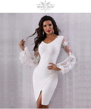 Scoop neck Body-con Dress with Sheer lace /ostrich feather Lantern Sleeves