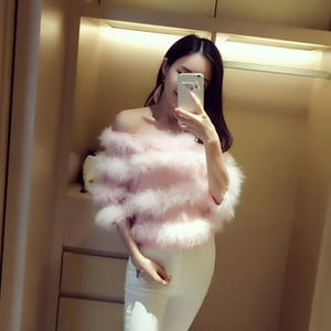 Off the Shoulder Marabou Feather Stripes Pullover Top