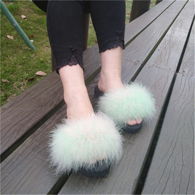 Marabou Feather Slides with Black Foam Soles