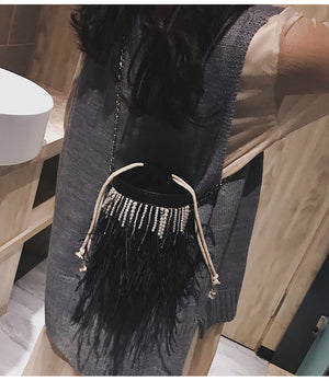 Fringed Ostrich Feather & Pearl Bucket Purse