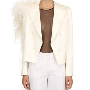 Double Breasted White Wing Collar Jacket with Detachable Ostrich Feathers Epaulette