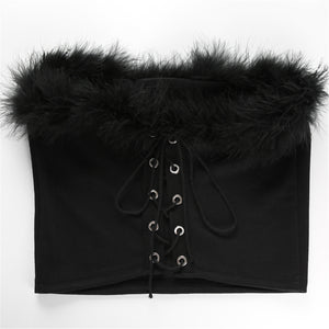 Marabou feather bustier crop top