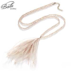 Long Crystal Beads Necklace with Ostrich Feather Tassel Pendant