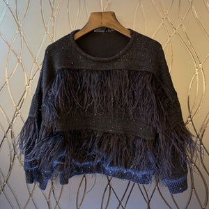 Ostrich Feather Long Sleeve Sweater