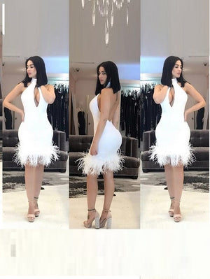 High Neck Low Back Halter Dress with Ostrich Feather Hem