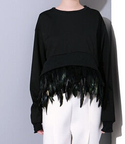 Long Sleeved Sweatshirt with detatchable Feather Hem