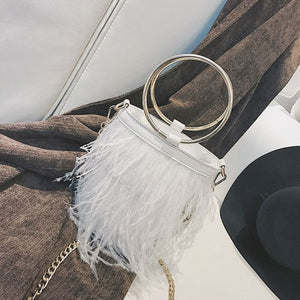 Mini leather Round Bucket Purse with Ostrich Feather Fringe Trim