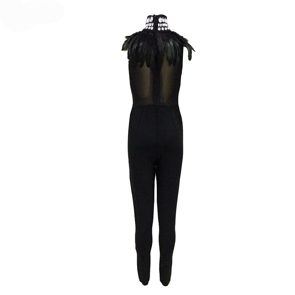 Body-con Sheer Top Jumpsuit with Crystal & Rhinestone beading and Feather Collar