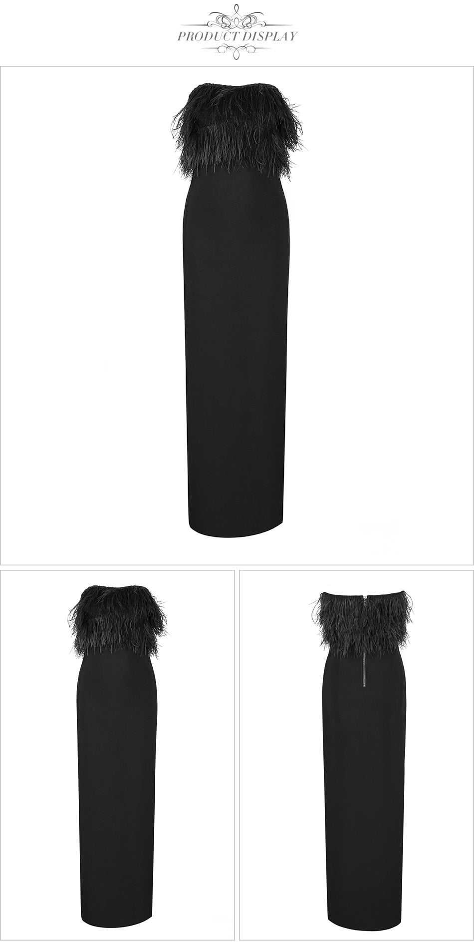 Strapless Ostrich Feathers, High Slit Knit Luxury Long Maxi Gown