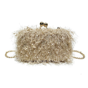 Feather Box Style Clam Shell Clutch