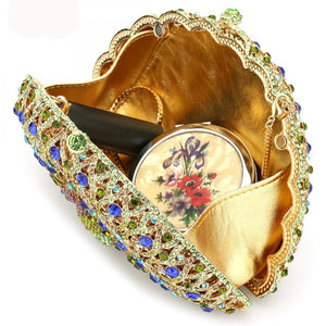 Mini Peacock Rhinestone Evening Clutch Bag