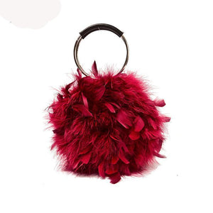 Chandelle Feather Brass Ring Evening Handbag
