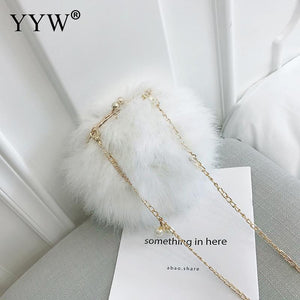 Marabou Feather Mini Bag, with Chain