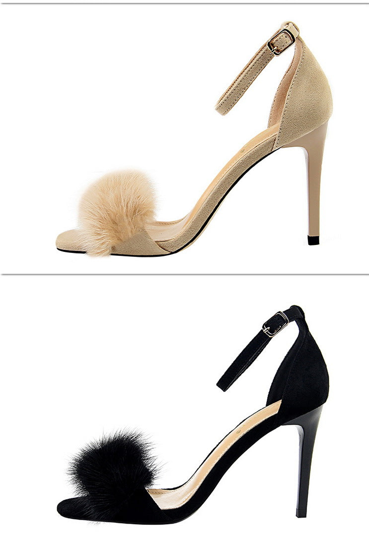 Sexy Marabou Feather Band Ankle Strap High Heels Sandals
