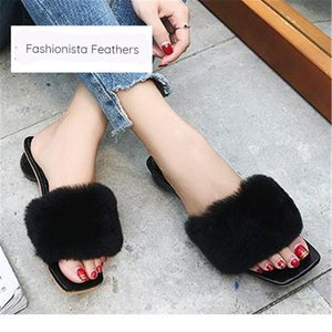 Fashion Feather Slippers with Round Heels