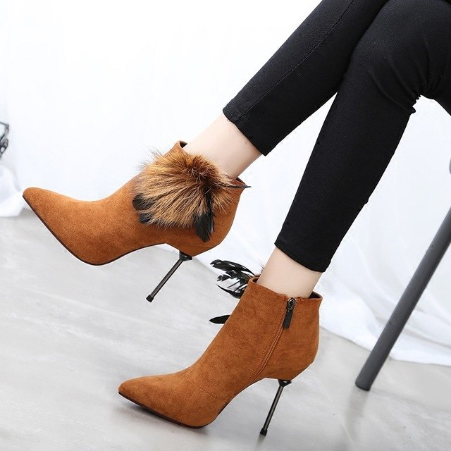Pointed High Heels Ankle Boots with Side Feather Tassel