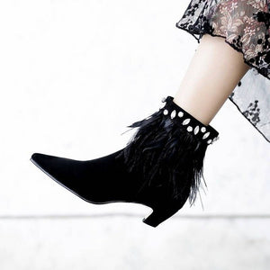 Ostrich Feather Trim Suede Pointed Toe Ankle Bootie