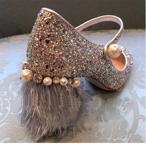 Mary Jane Glitter / Pearl / Feather Heel Pumps Shoes