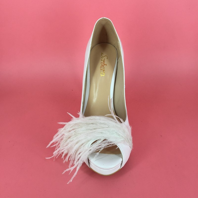 White Satin Peep Toe Pumps High Heels Shoes with Ostrich Feather accent
