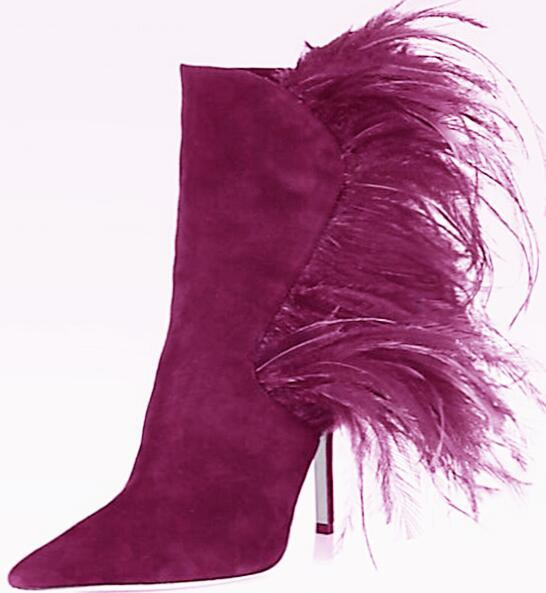 Stiletto suede short boots with ostrich feather side trim