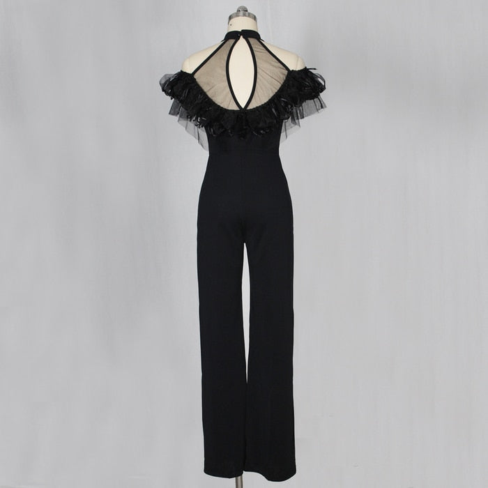 Mesh Halter Neck Other the Shoulder Ruffles Feather Jumpsuit