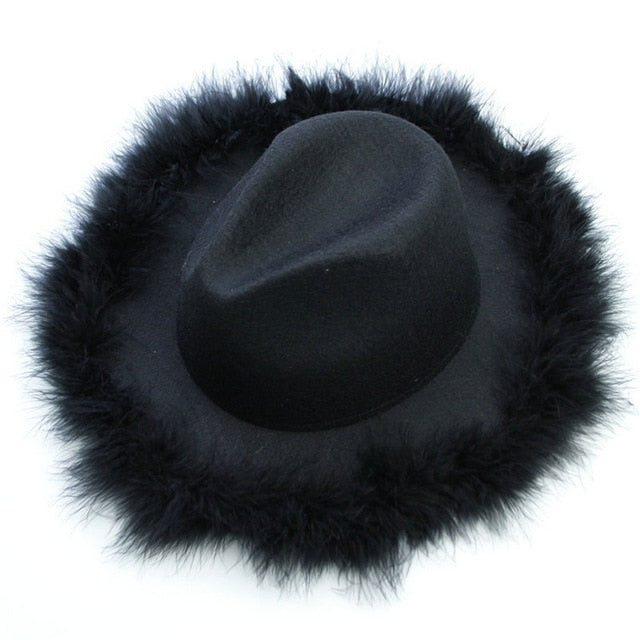 Womens Fedora Hat with Marabou Feather Trim Brim