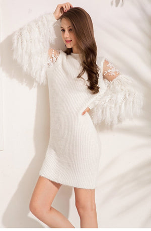 Ostrich Feather Long Sleeved Knitting Sweater Dress