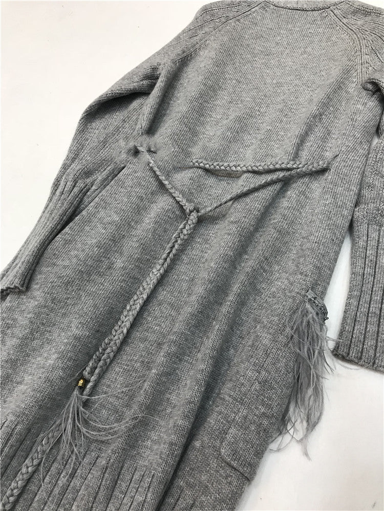 Full Length Cashmere Sweater Cardigan with Ostrich Feather Fringe Trimmed  Pockets